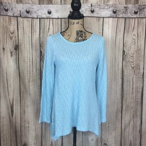 Chelsea & Theodore Blue White Knit Sweater Large